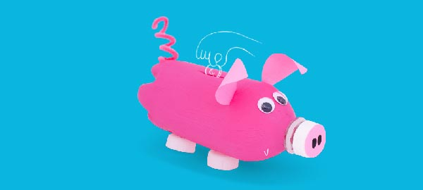 A water bottle crafted to look like a pink pig for use as a piggy bank