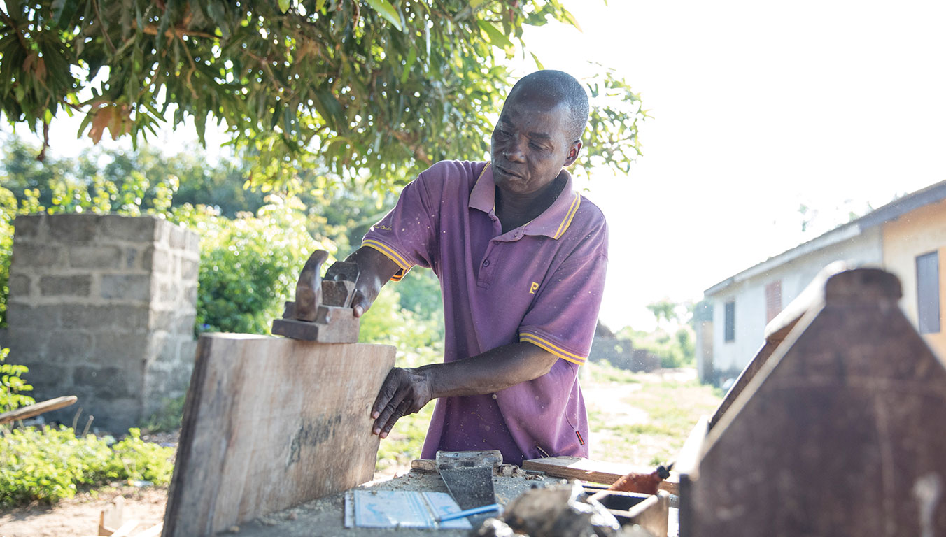 Benedicta's father, Joseph, makes furniture for people in his community but never knows when he'll get customers.