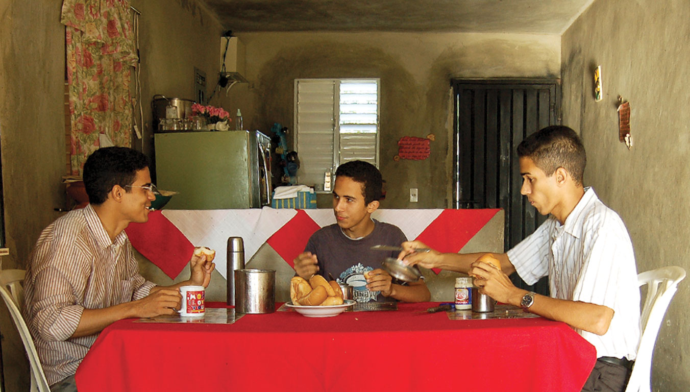 Ariel and his brothers eating breakfast together in their home
