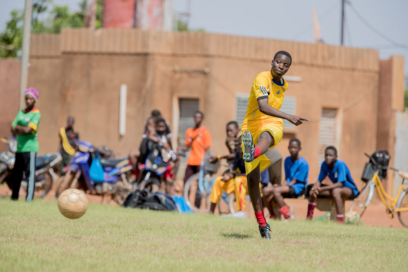 Through hard work, a girl in Compassion's program plays soccer on the Burkina Faso women's national team