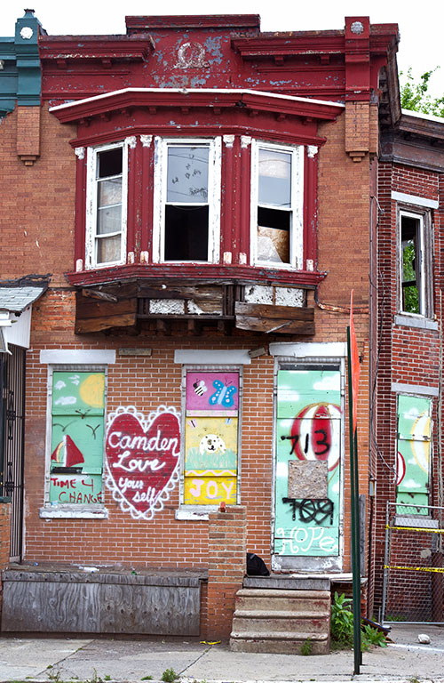 Signs of poverty with grafitti in Camden, New Jersey