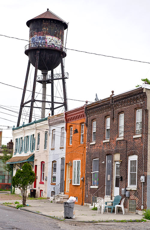 An old water tower in Camden, New Jersey