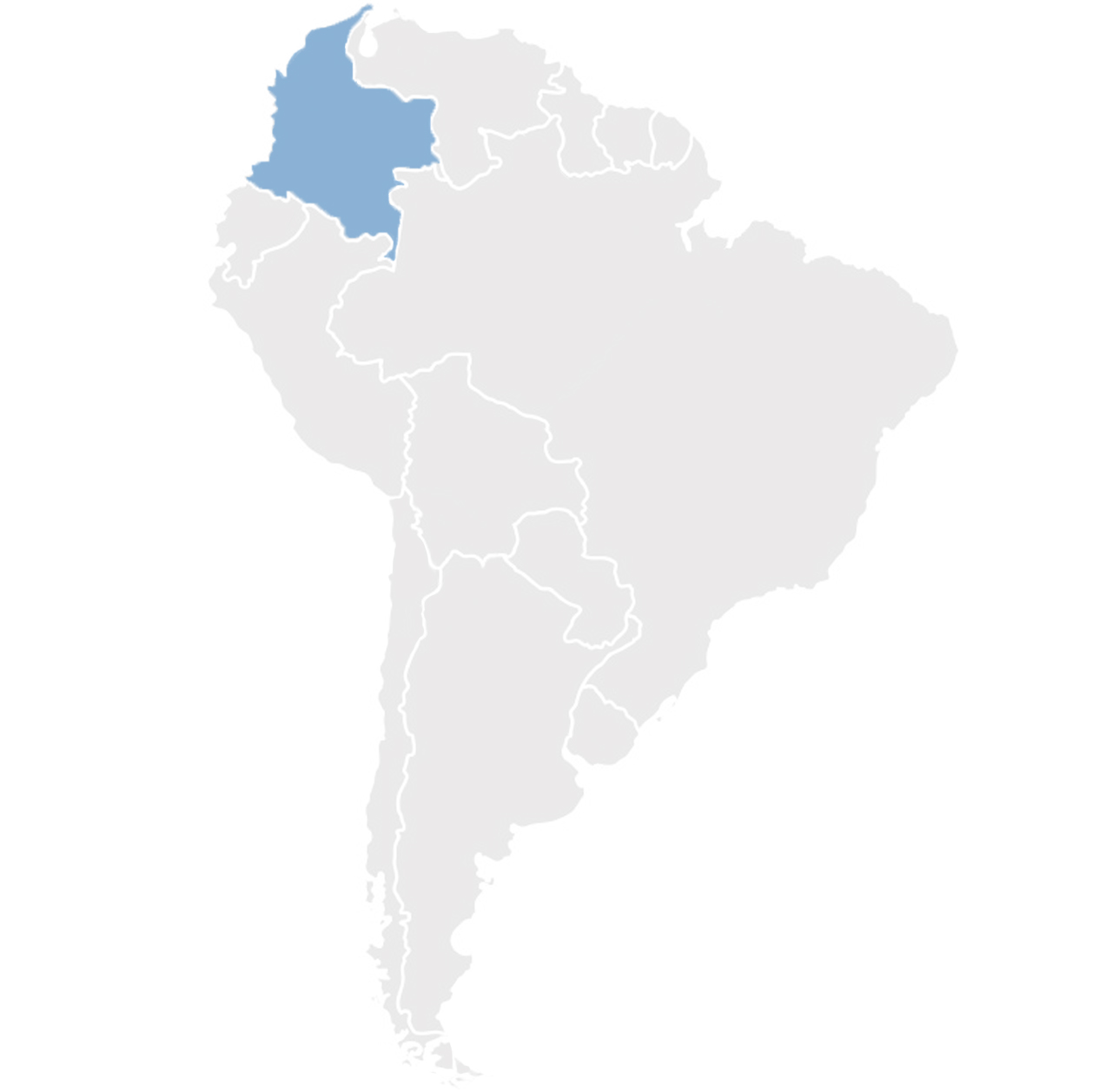 Gray map of South America with Colombia in blue