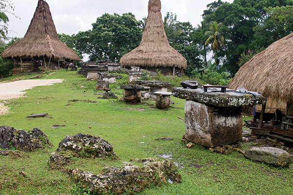 A Sumbanese village with stone tables outside