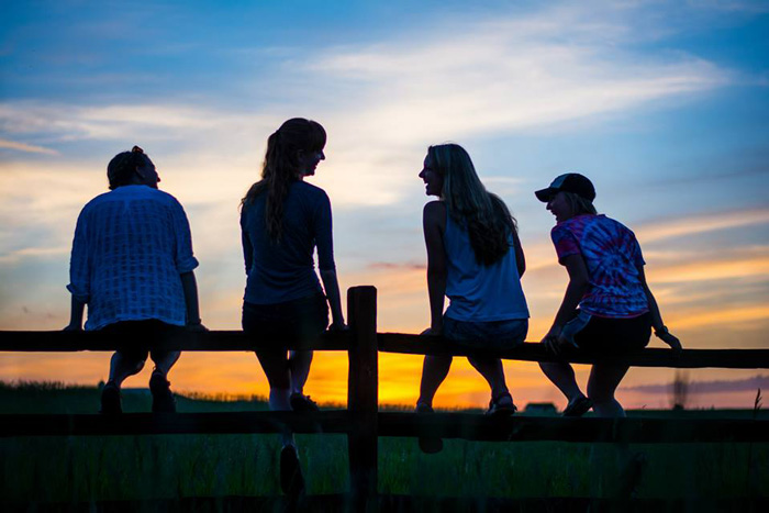 A group of interns sitting on a fence at sunset