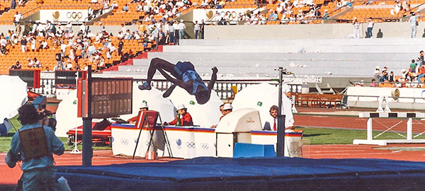 Jimmy Mellado competes in the high jump during the 1988 Seoul Olympics decathlon