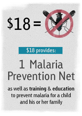 $18 provides 1 Malaria Prevention Night as well as training and education to prevent malaria for a child and his or her family.
