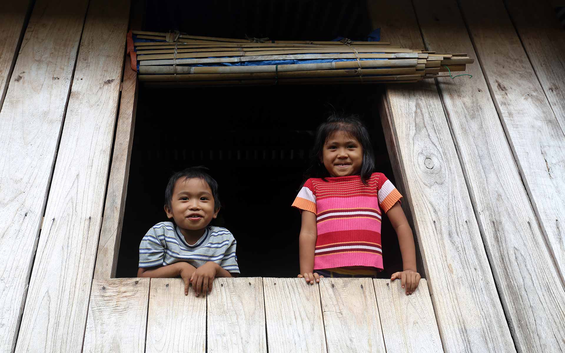 A young brother and sister smile as they look out a window
