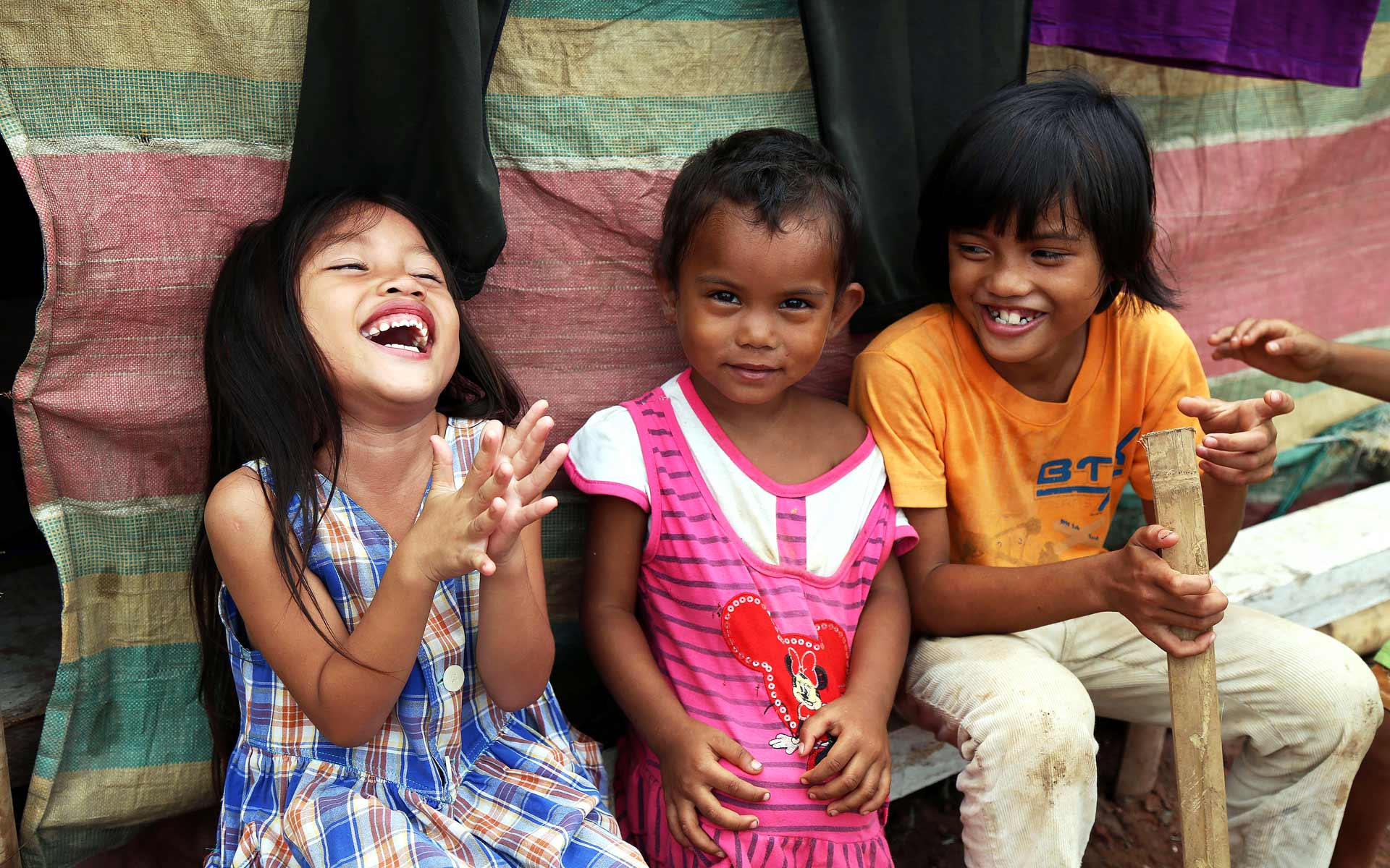 Children in the Philippines laugh together