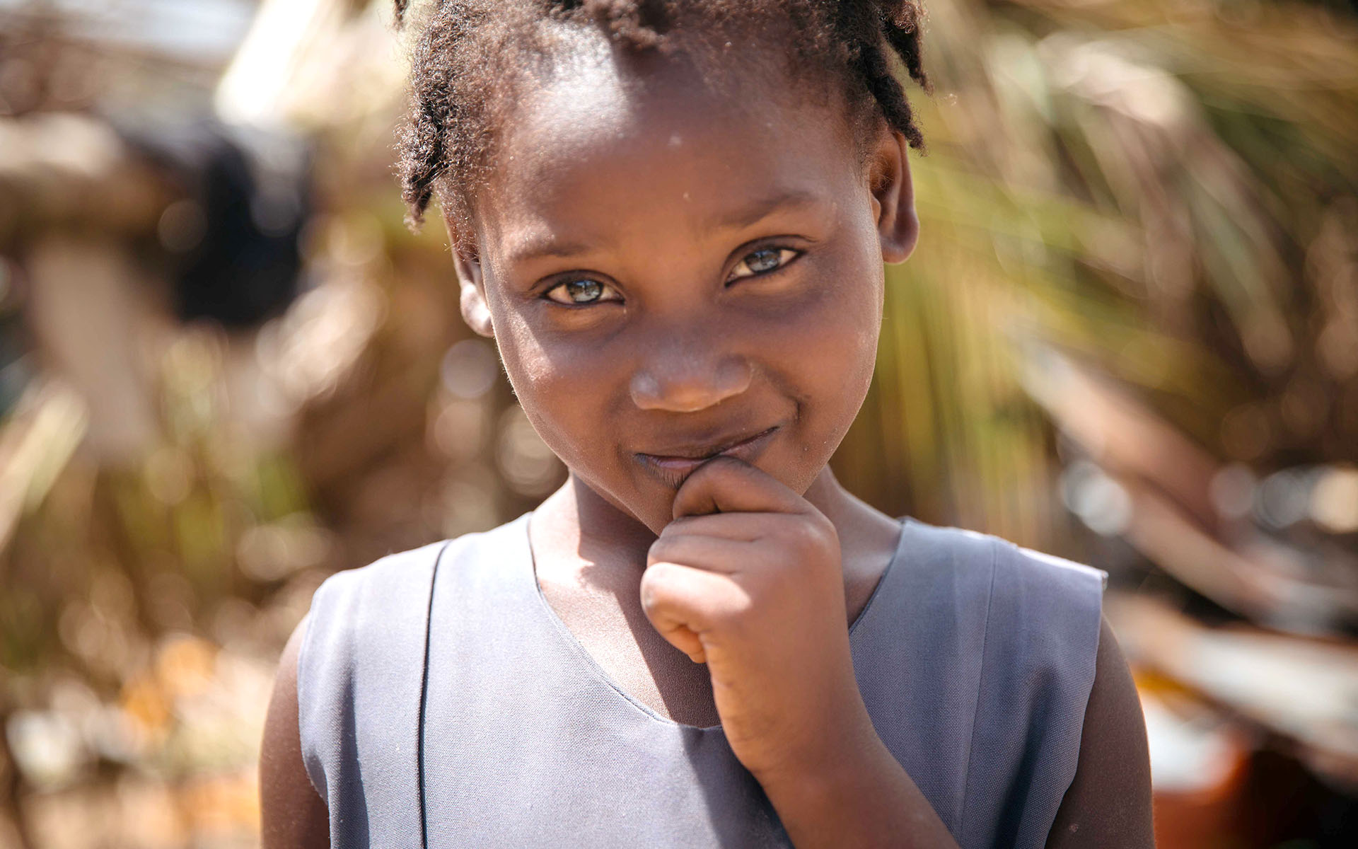 A Haitian girl in Compassion's program after surviving Hurricane Matthew