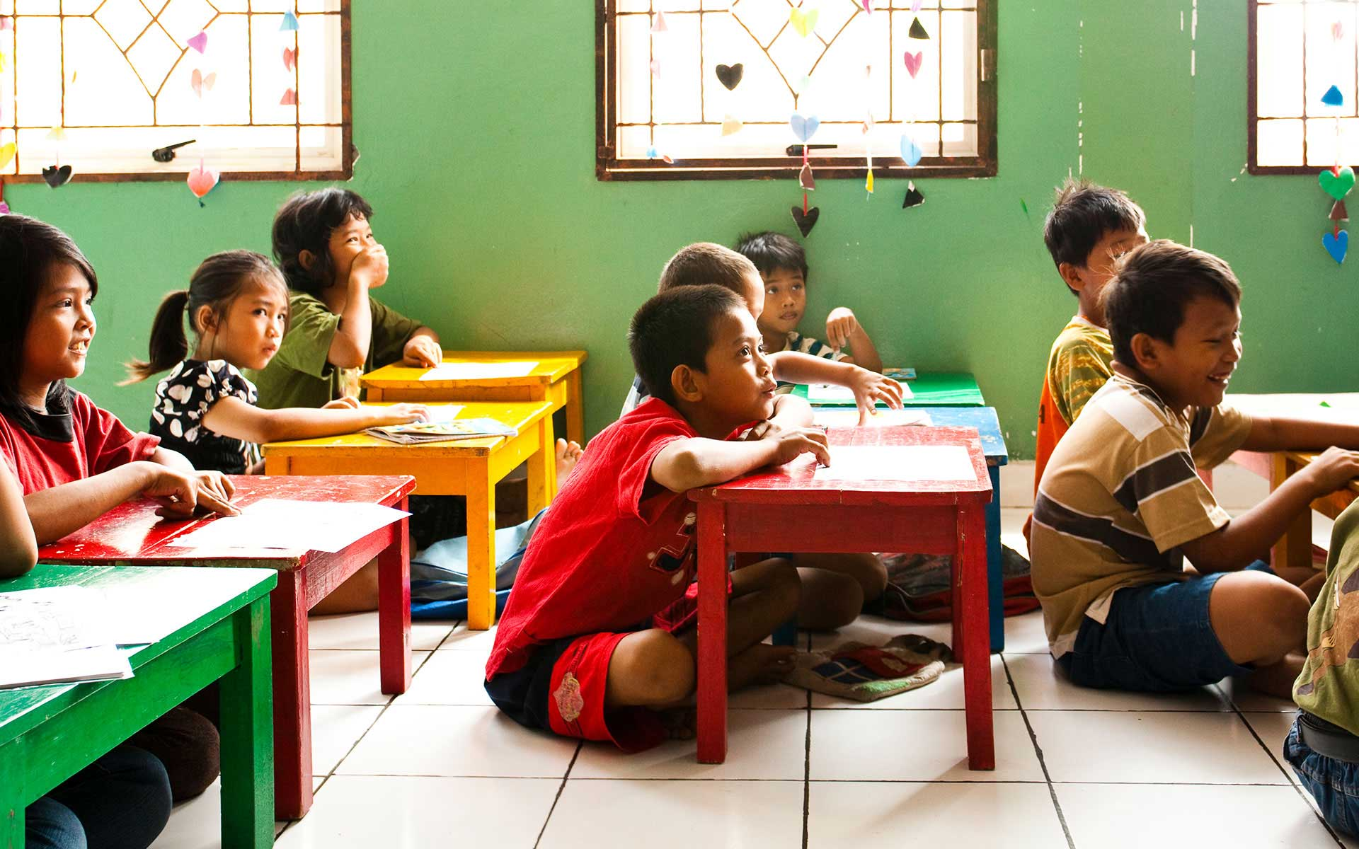 Children in Thailand learning in school