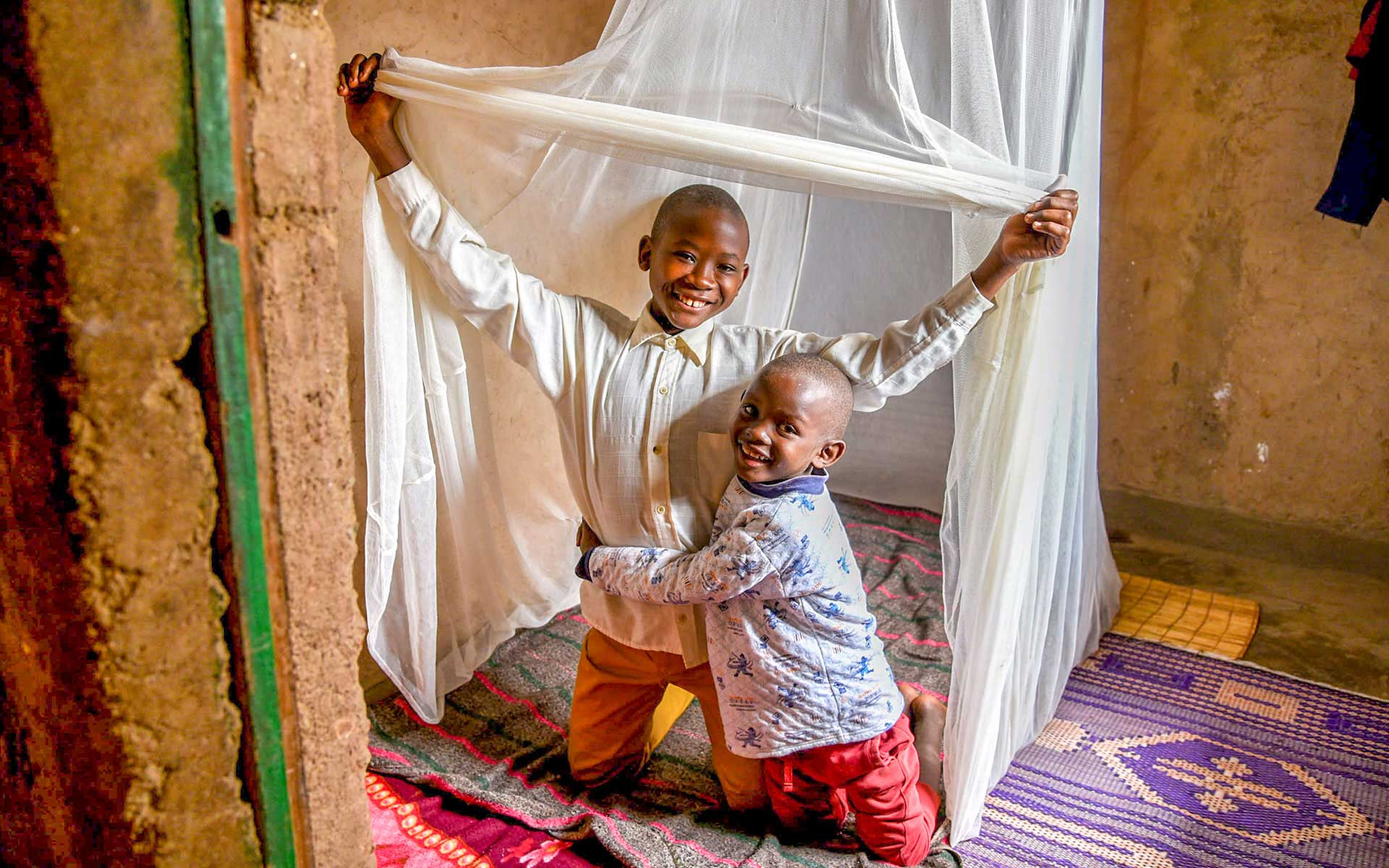 These brothers have been malaria free since sleeping under this tent