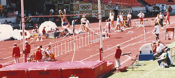 Jimmy Mellado competes in the pole vault during the 1988 Seoul Olympics decathlon