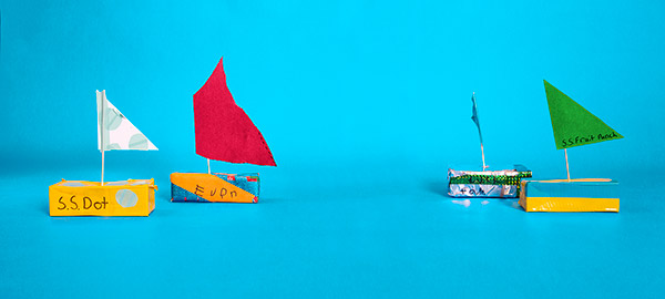 boats made from juice boxes