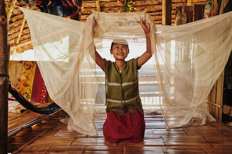 A girl smiles and holds a mosquito net