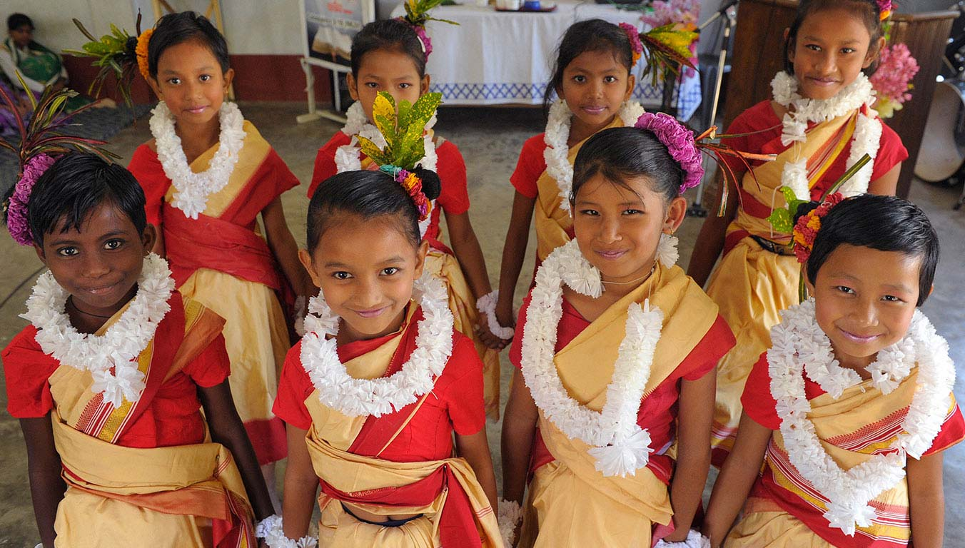 A group of girls from India dressed in colorful robes