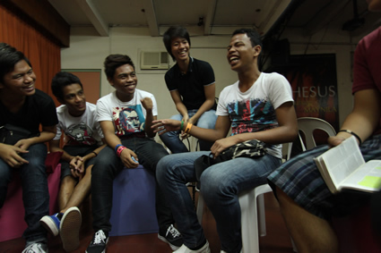 a group of laughing teenage boys