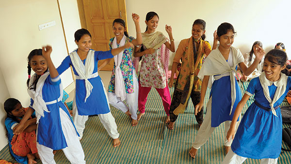 Bangladesh Girls Perform a Cultural Dance