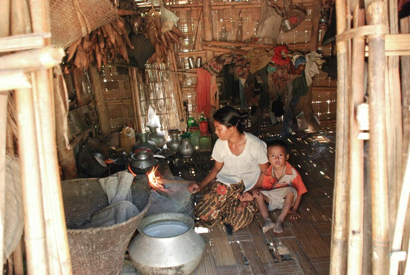 Bangladesh Mother and Son in Kitchen