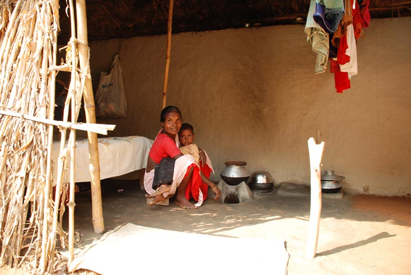 Bangladesh Mother and Son Sitting in Their Home