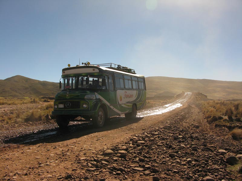 Bolivia bus on road
