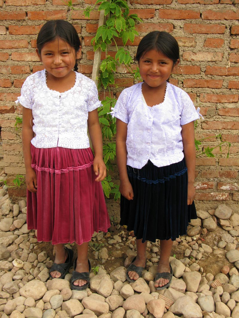 Bolivia two girls smiling