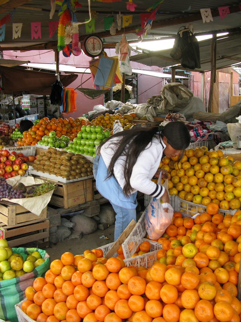 Bolivia woman buying oranges