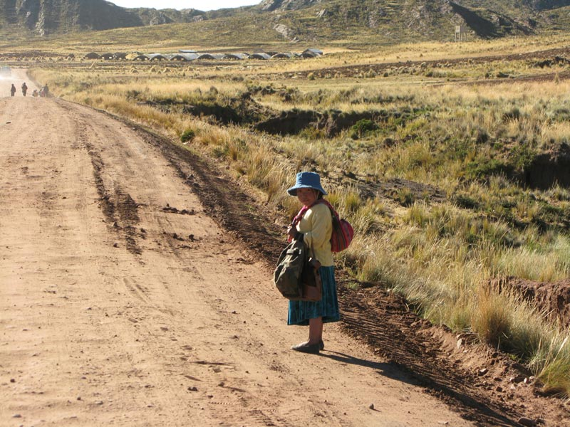 Bolivia woman on road