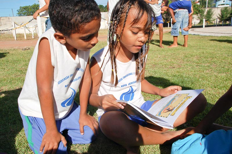 Brazil Boy and Girl Reading Book
