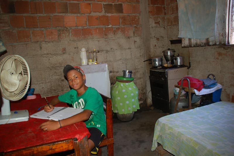 Brazil Boy Studying at Home