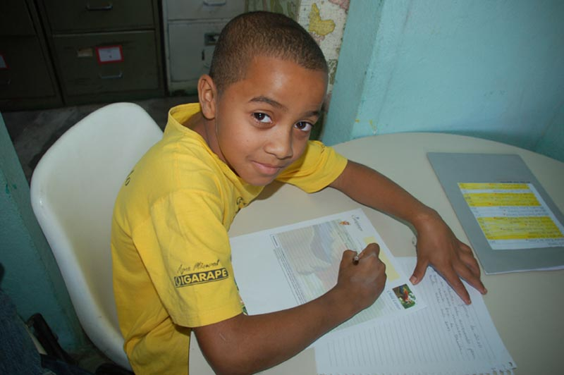 Brazil Boy Writing Sponsor Letter