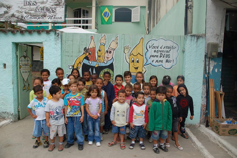 Brazil Children Standing in Front of Center