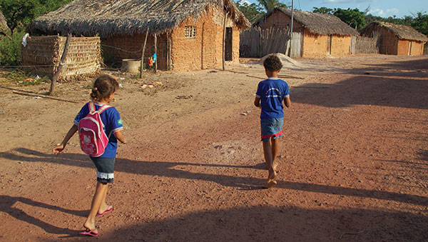 Brazil Children Walking On Road