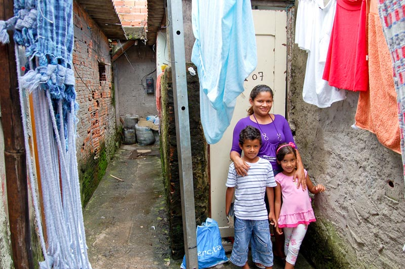 Brazil Mother and Children in Front of Home