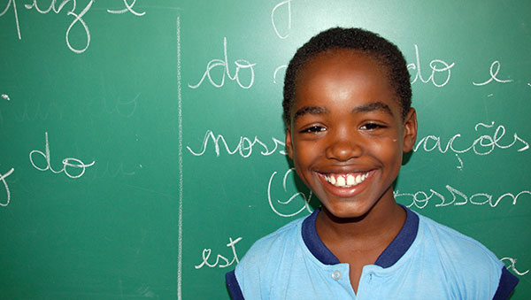 Brazil Smiling Boy and Chalkboard