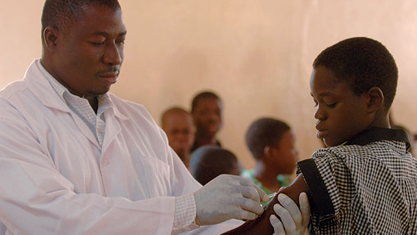 Burkina Faso Child Getting Immunizations