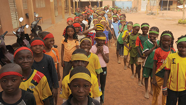Burkina Faso Children Standing in Line