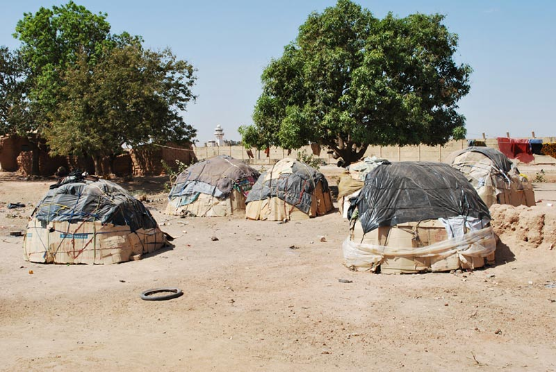 Burkina Faso Huts Covered With Plastic