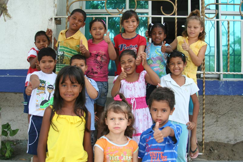Colombia Children Giving Thumbs Up
