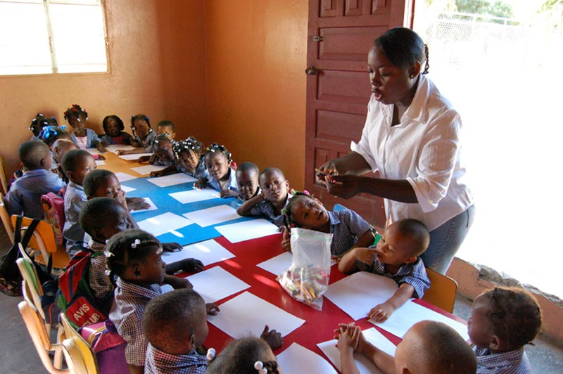 Dominican Republic Children at the Table in a Classroom