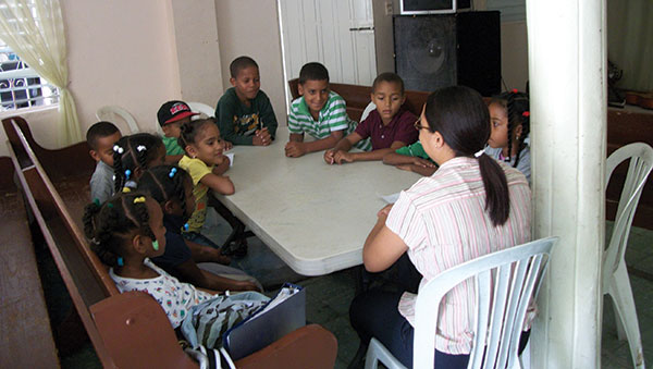 Dominican Republic Children Interacting with their Teacher