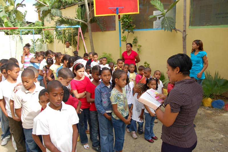 Dominican Republic Children Listening to Bible