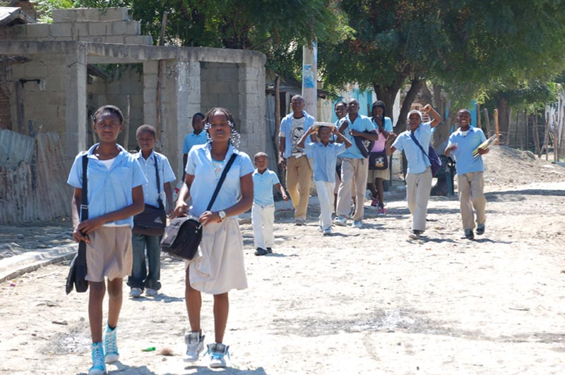 Dominican Republic Children Walking Down the Street