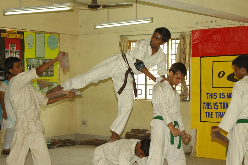 East India boys doing martial arts
