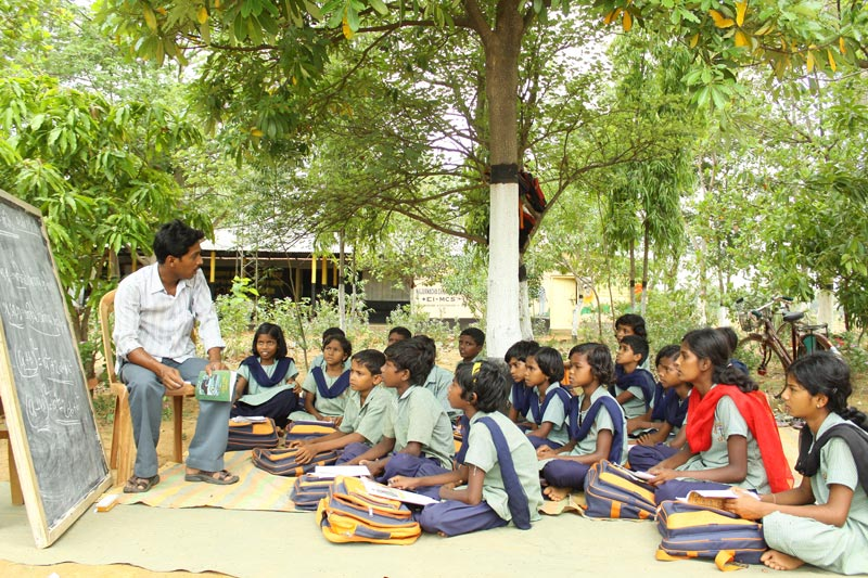 East India Children in an Outdoor Classroom