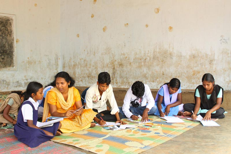 East India children studying