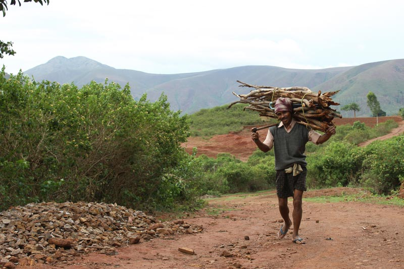East India man carrying sticks