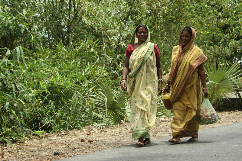 East India women on road