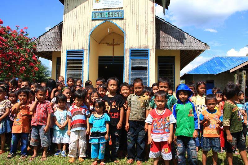 East Indonesia children in front of church