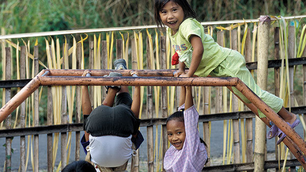 East Indonesia children on jungle gym